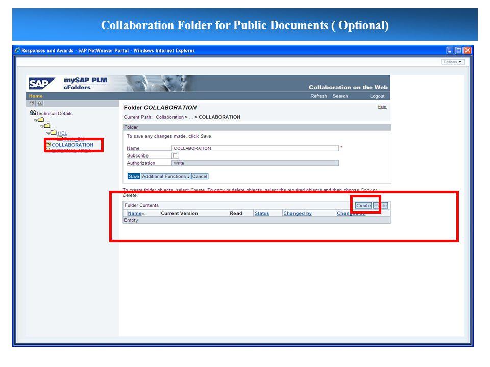 Collaboration Folder for Public Documents ( Optional)