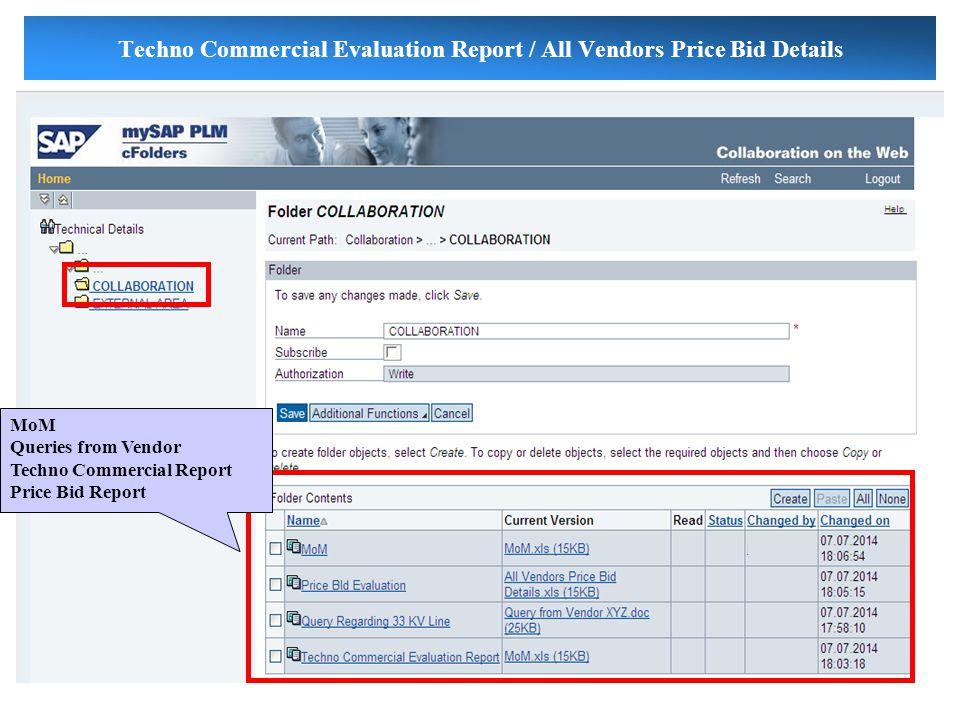 Techno Commercial Evaluation Report / All Vendors Price Bid Details MoM Queries from Vendor Techno Commercial Report Price Bid Report