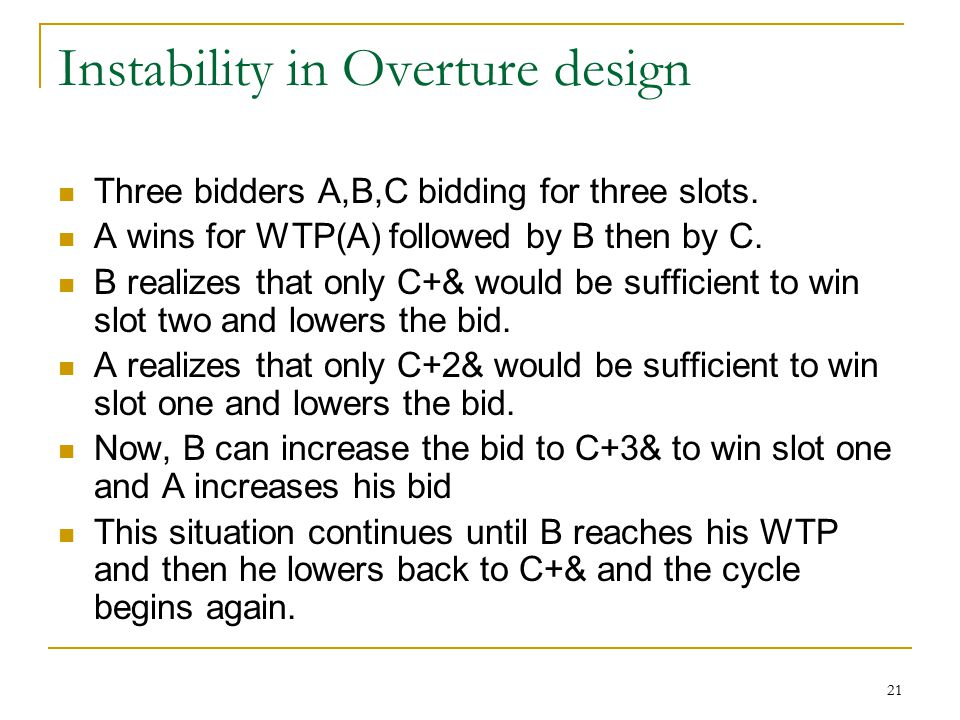 21 Instability in Overture design Three bidders A,B,C bidding for three slots.
