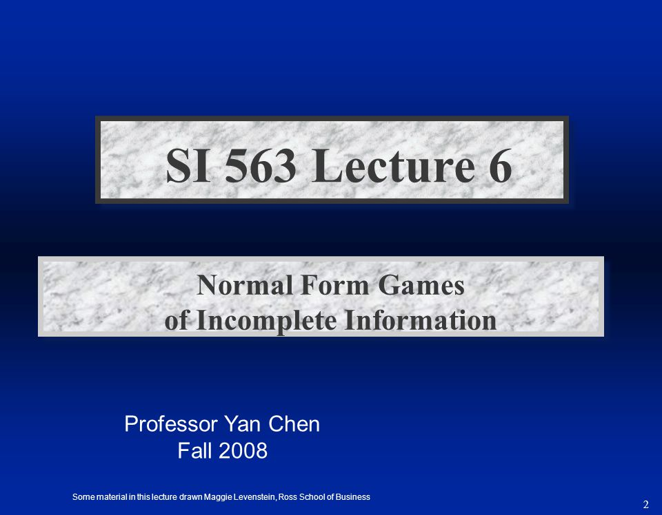 3 Agenda – Games of incomplete information –Random events and incomplete information –Risk and incentives in contracting –Bayesian Nash equilibrium –Lemons and Auctions