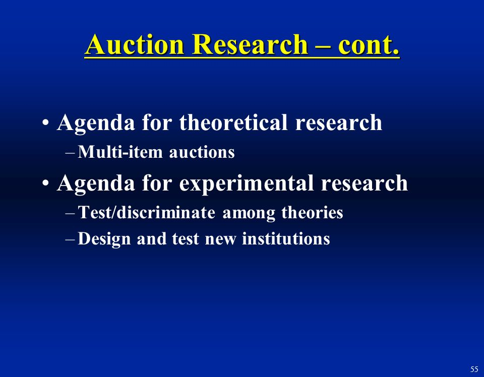 55 Agenda for theoretical research –Multi-item auctions Agenda for experimental research –Test/discriminate among theories –Design and test new instit