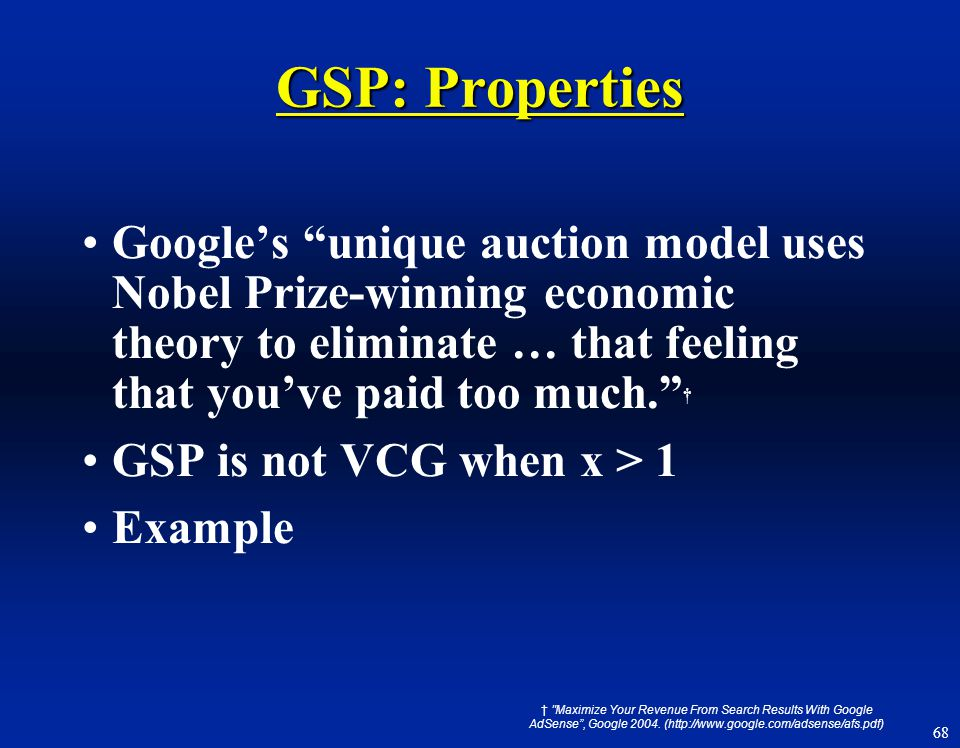 "68 GSP: Properties Google's ""unique auction model uses Nobel Prize-winning economic theory to eliminate … that feeling that you've paid too much."" † G"