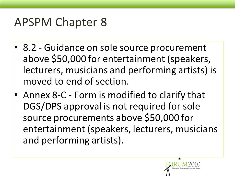 APSPM Chapter 8 8.2 - Guidance on sole source procurement above $50,000 for entertainment (speakers, lecturers, musicians and performing artists) is m