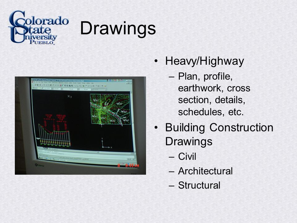 Drawings Heavy/Highway –Plan, profile, earthwork, cross section, details, schedules, etc.