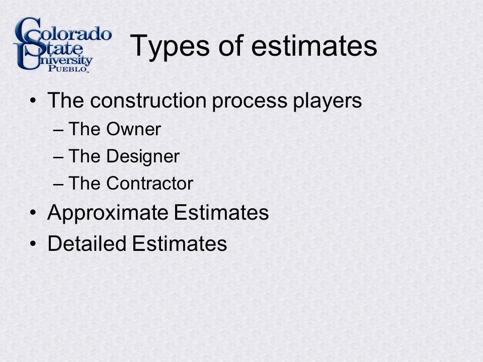 Organization of Estimates See Steps for preparing a detailed estimate (pg.
