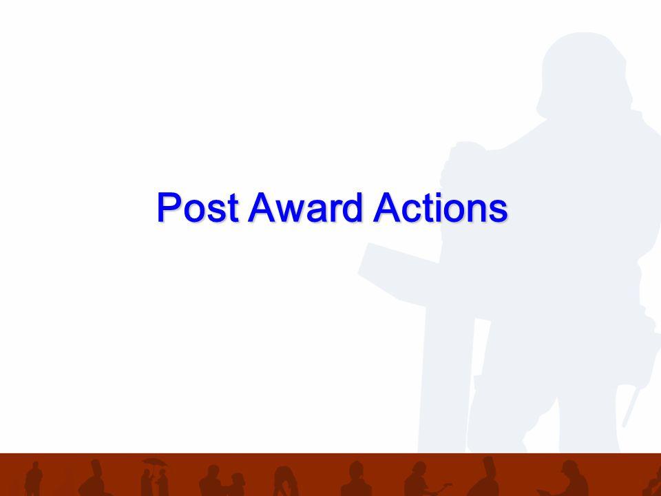 Post Award Actions