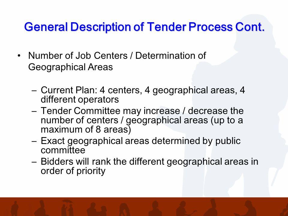 General Description of Tender Process Cont.