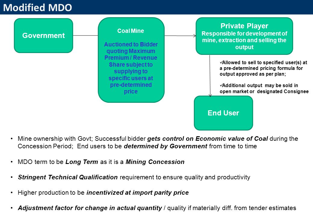 4 Modified MDO Allowed to sell to specified user(s) at a pre-determined pricing formula for output approved as per plan; Additional output may be sold in open market or designated Consignee Government Private Player Responsible for development of mine, extraction and selling the output End User Coal Mine Auctioned to Bidder quoting Maximum Premium / Revenue Share subject to supplying to specific users at pre-determined price Mine ownership with Govt; Successful bidder gets control on Economic value of Coal during the Concession Period; End users to be determined by Government from time to time MDO term to be Long Term as it is a Mining Concession Stringent Technical Qualification requirement to ensure quality and productivity Higher production to be incentivized at import parity price Adjustment factor for change in actual quantity / quality if materially diff.