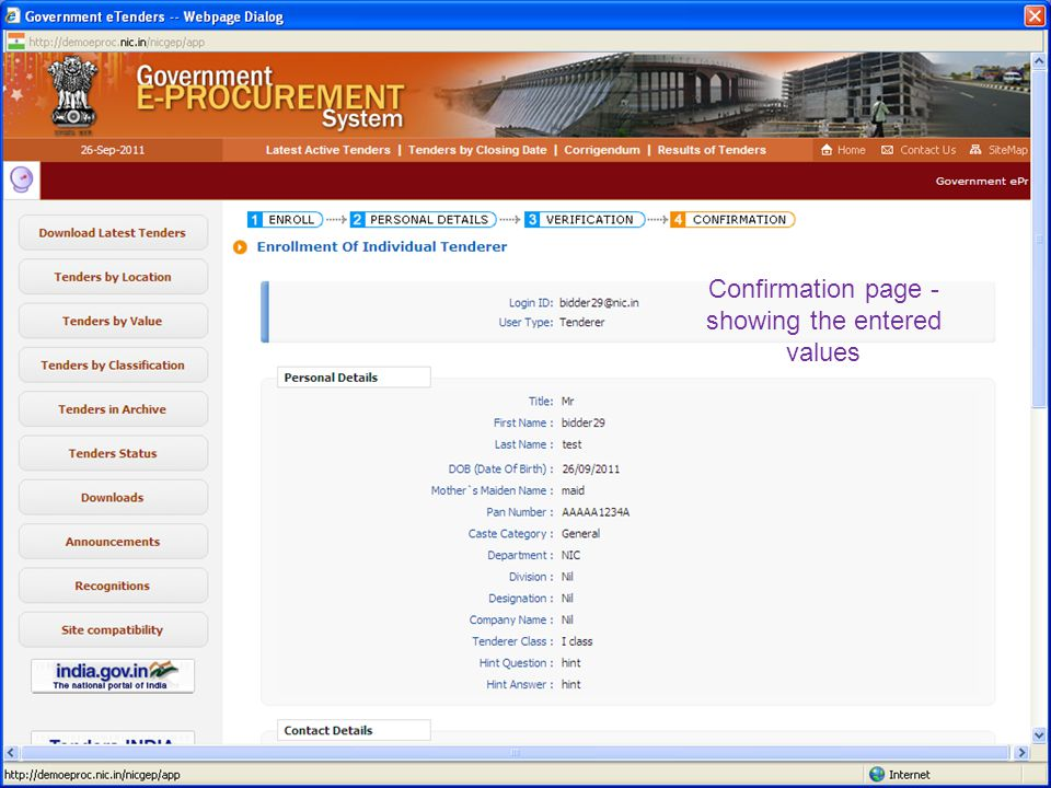 Input more company details (Business data) Click on submit button