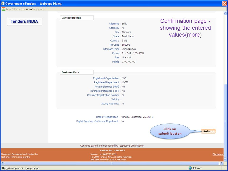 Confirmation page - showing the entered values