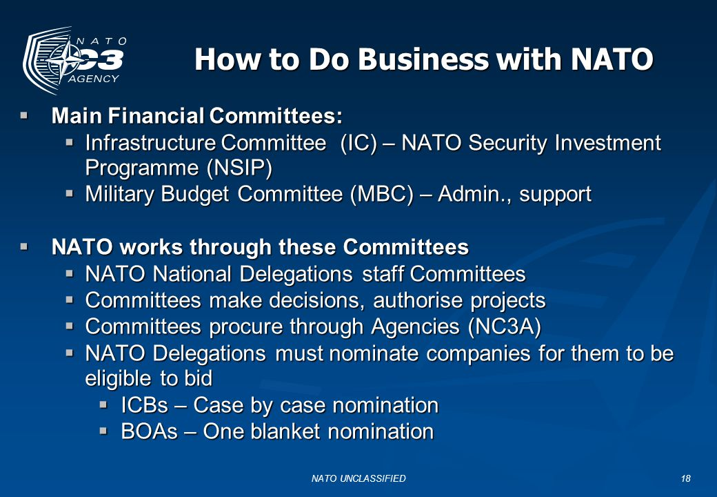 NATO UNCLASSIFIED18 How to Do Business with NATO  Main Financial Committees:  Infrastructure Committee (IC) – NATO Security Investment Programme (NS