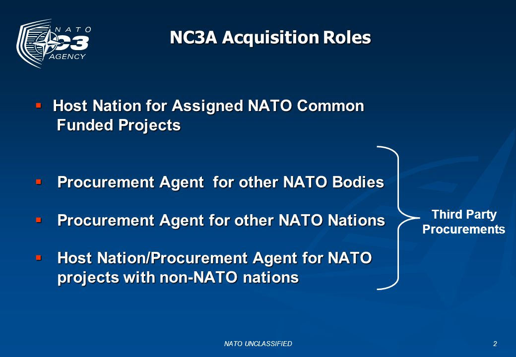 NATO UNCLASSIFIED2 NC3A Acquisition Roles  Host Nation for Assigned NATO Common Funded Projects Funded Projects  Procurement Agent for other NATO Bo