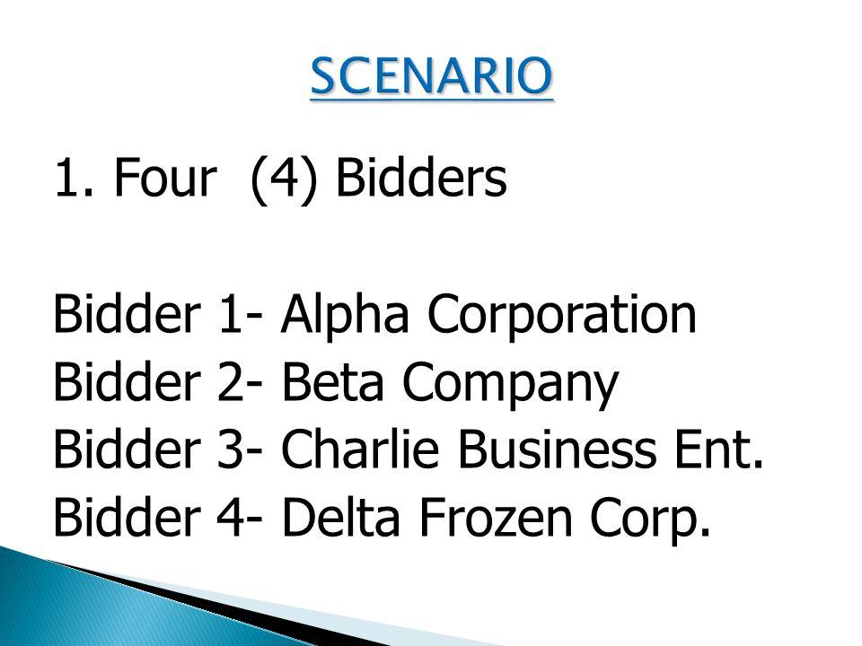 1. Four (4) Bidders Bidder 1- Alpha Corporation Bidder 2- Beta Company Bidder 3- Charlie Business Ent. Bidder 4- Delta Frozen Corp.