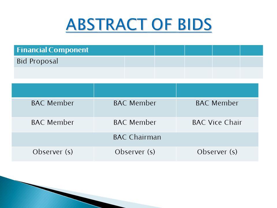 Financial Component Bid Proposal BAC Member BAC Vice Chair BAC Chairman Observer (s)