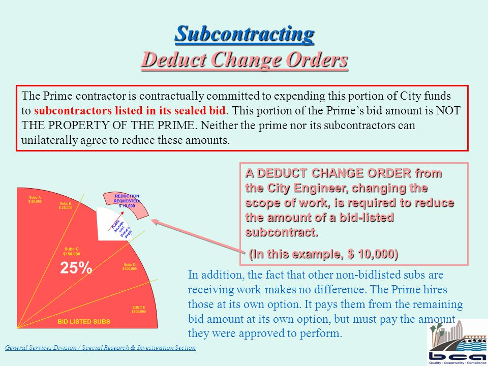 General Services Division / Special Research & Investigation Section Subcontracting Deduct Change Orders The Prime contractor is contractually committ