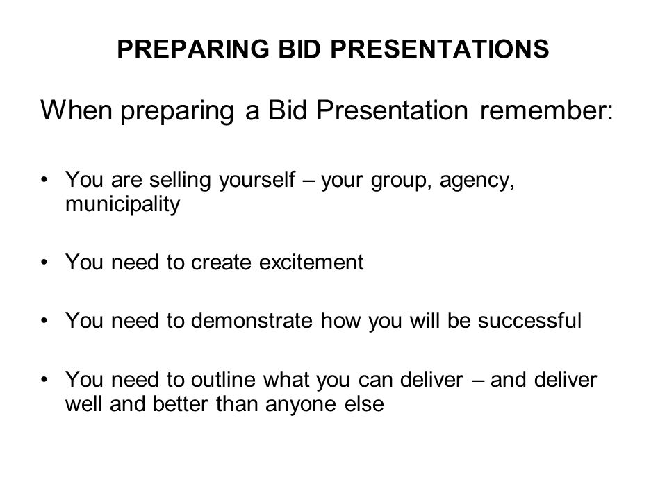 CONCLUSION / SUMMARY: Summarize why your Bid is the one to be chosen: EXAMPLES: - Highlight experiences - Partnerships - Support - Benefits