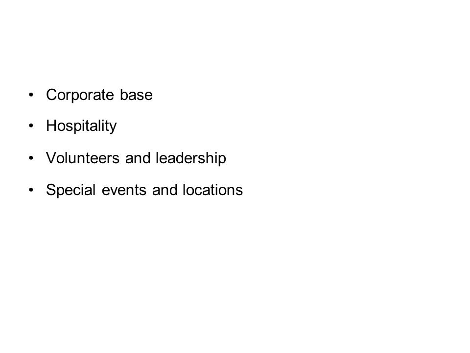 Corporate base Hospitality Volunteers and leadership Special events and locations