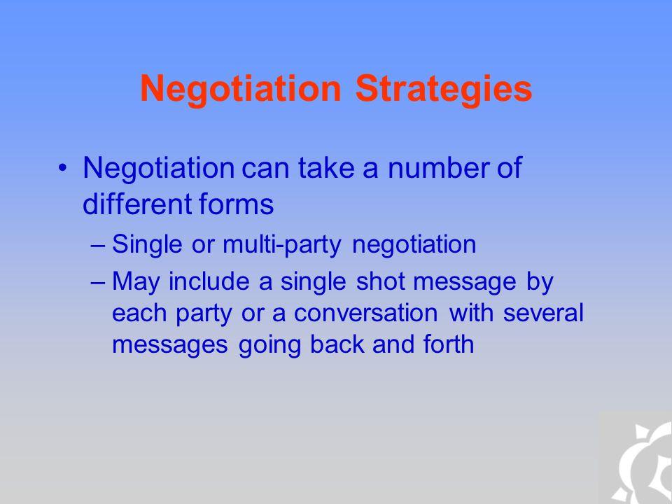 Negotiation Techniques Game Theoretic Negotiation –Evaluation Criteria –Voting Auctions –General Equilibrium Market Mechanisms –Contract Nets Heuristic-based Negotiation Argument-based negotiation
