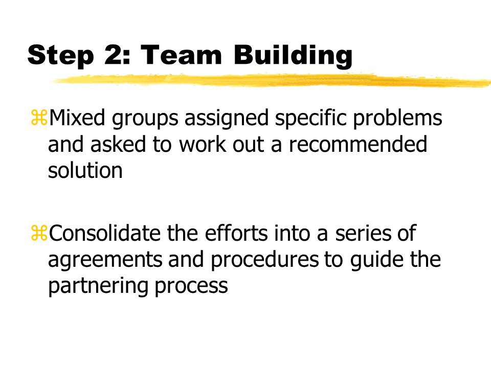 Step 2: Team Building zMixed groups assigned specific problems and asked to work out a recommended solution zConsolidate the efforts into a series of agreements and procedures to guide the partnering process