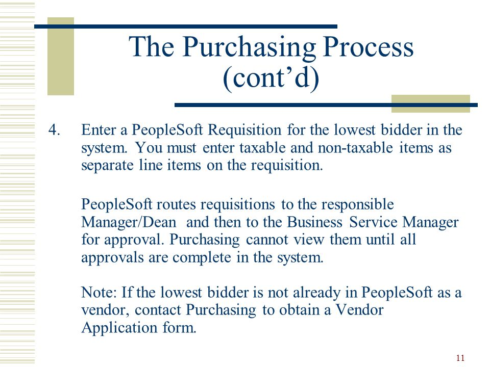 11 The Purchasing Process (cont'd) 4.Enter a PeopleSoft Requisition for the lowest bidder in the system.