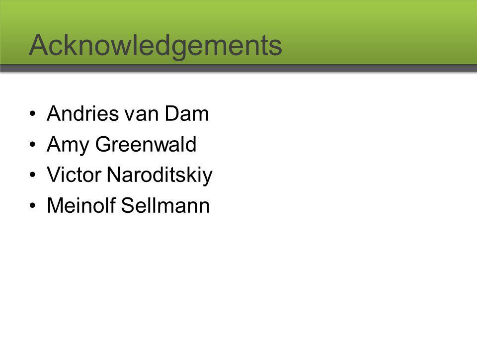 Acknowledgements Andries van Dam Amy Greenwald Victor Naroditskiy Meinolf Sellmann