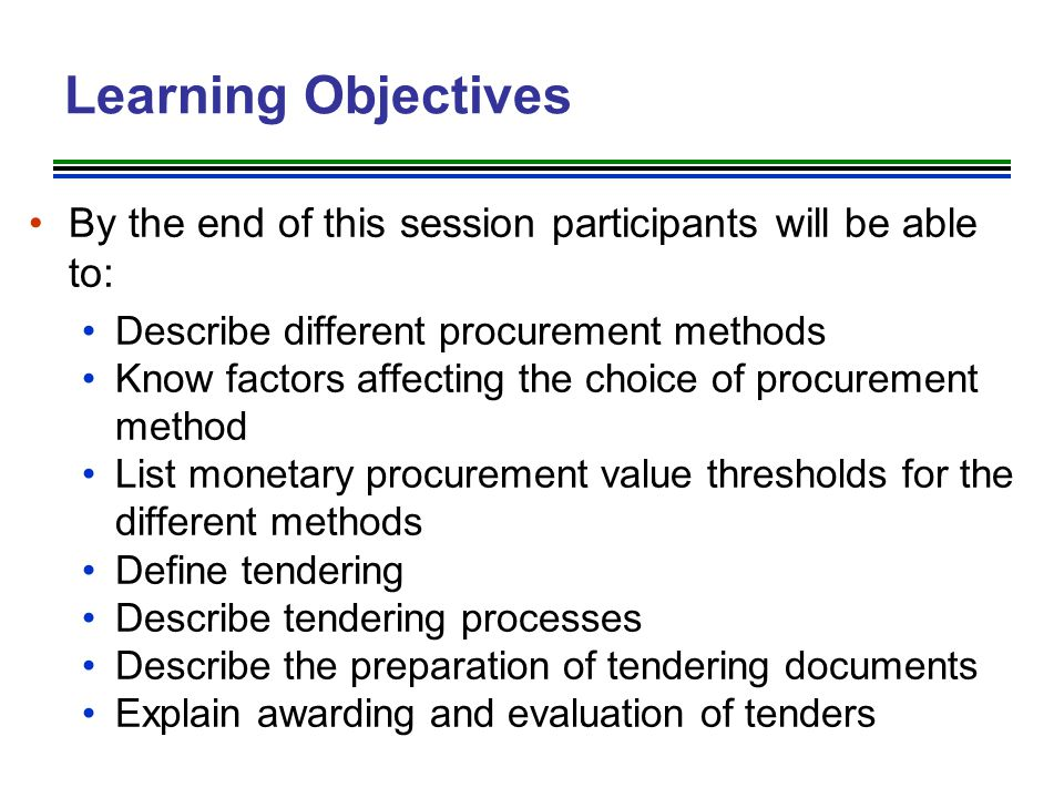 Tendering Procedures Tendering process in procuring entity may be divided into several stages: Preparation of tender documents Review and approval of tender documents by the Tender Board Advertising of tender and issuing of tender documents Submission and custody of tender bids Opening of tenders Evaluation of tender Approval and award of the tender by the tender board