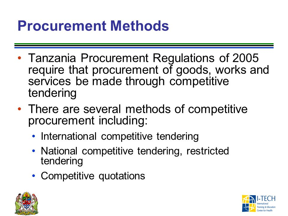Preparation of Tender Documents (1) Tender documents generally include the following components, each is discussed in slides that follow: Section 1: Invitation for Tenders Section 2: Instruction to Tenderers Section 3: Tender Data Sheet Session 4: General Conditions of Contract Section 5: Special Conditions of Contract Section 6: Schedule of Requirements Section 7: Sample Forms Section 8: Technical Specifications Section 9: Security Forms Section 10: Anti-Bribery Policy/Code of Conduct