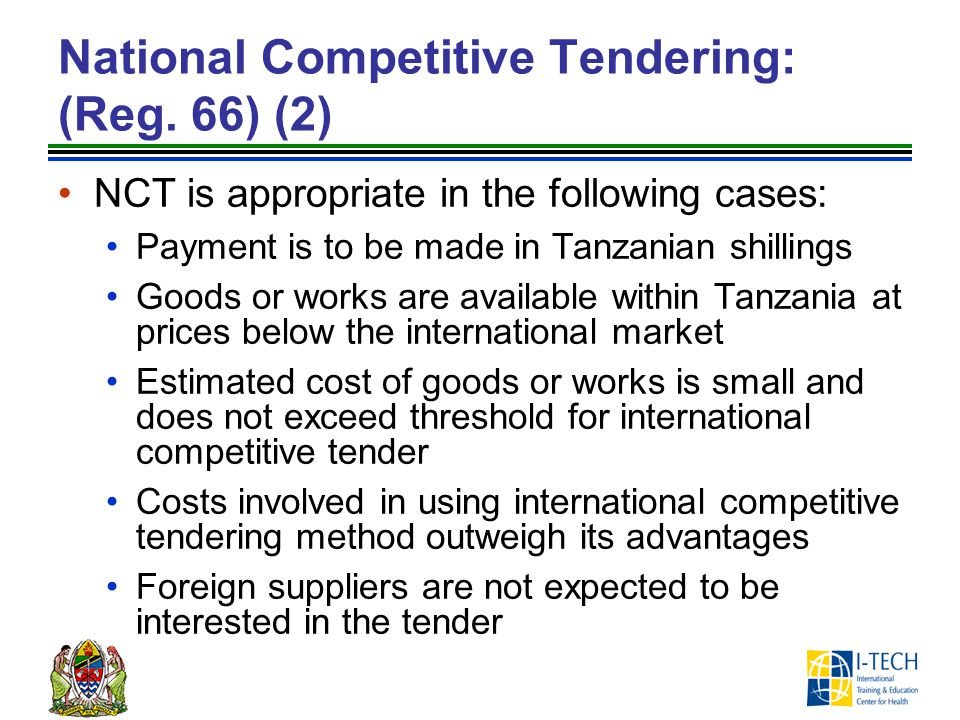 Preparation of Tender Documents (4) Section 4: General Conditions of Contract Contains general conditions for supply of goods under tendering methods.