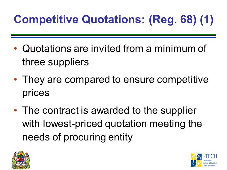 Competitive Quotations: (Reg.