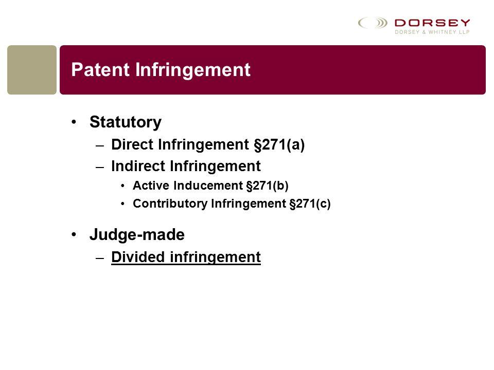 Patent Infringement Statutory –Direct Infringement §271(a) –Indirect Infringement Active Inducement §271(b) Contributory Infringement §271(c) Judge-made –Divided infringement