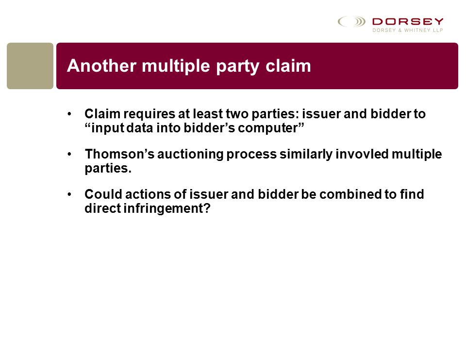 """Another multiple party claim Claim requires at least two parties: issuer and bidder to """"input data into bidder's computer"""" Thomson's auctioning proces"""