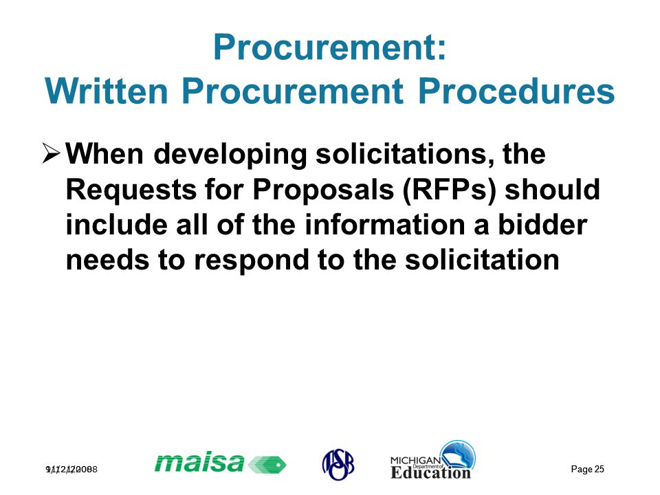 11/21/2008 Page 25 9/12/2008 Page 25 Procurement: Written Procurement Procedures  When developing solicitations, the Requests for Proposals (RFPs) should include all of the information a bidder needs to respond to the solicitation