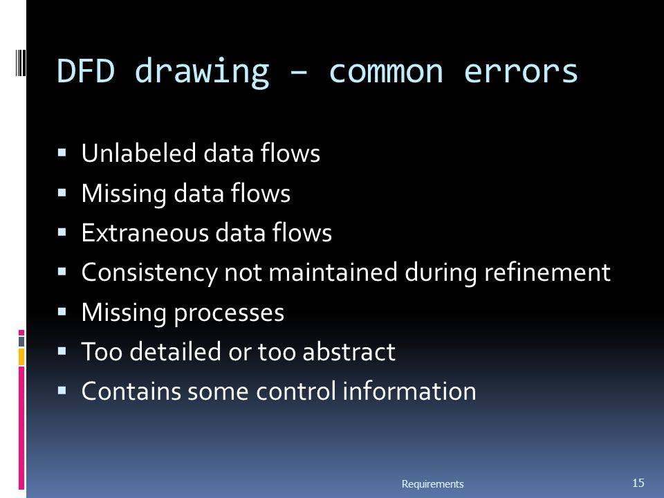 DFD drawing – common errors  Unlabeled data flows  Missing data flows  Extraneous data flows  Consistency not maintained during refinement  Missing processes  Too detailed or too abstract  Contains some control information Requirements 15