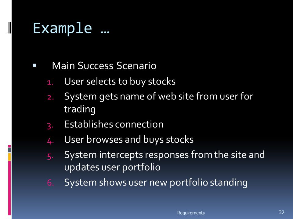 Example …  Main Success Scenario 1. User selects to buy stocks 2.
