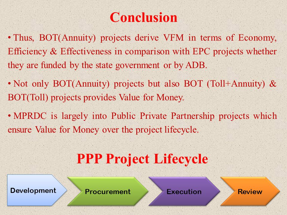 Conclusion Thus, BOT(Annuity) projects derive VFM in terms of Economy, Efficiency & Effectiveness in comparison with EPC projects whether they are fun