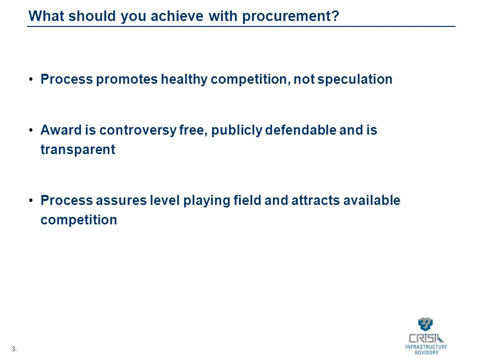 3. What should you achieve with procurement.