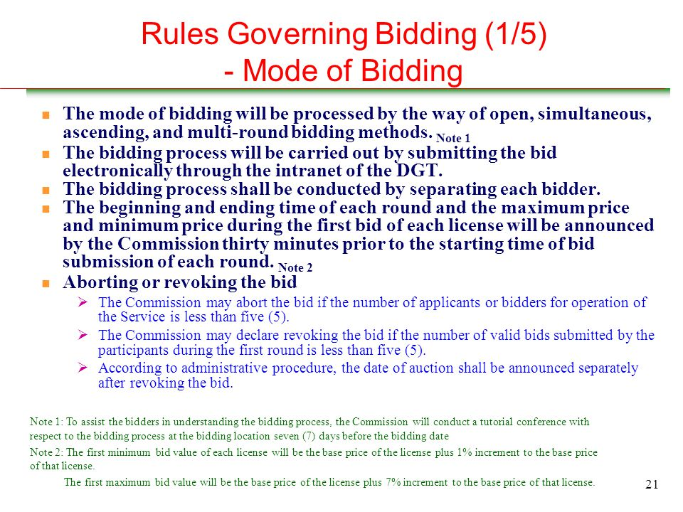 21 Rules Governing Bidding (1/5) - Mode of Bidding n The mode of bidding will be processed by the way of open, simultaneous, ascending, and multi-round bidding methods.