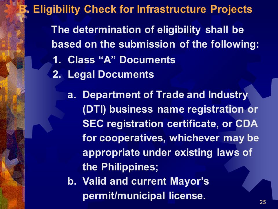"25 B.Eligibility Check for Infrastructure Projects The determination of eligibility shall be based on the submission of the following: 1.Class ""A"" Doc"