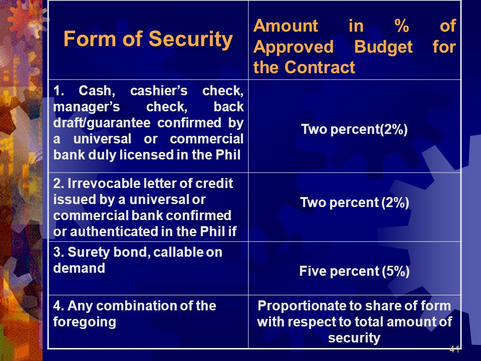 41 Form of Security Amount in % of Approved Budget for the Contract 1. Cash, cashier's check, manager's check, back draft/guarantee confirmed by a uni
