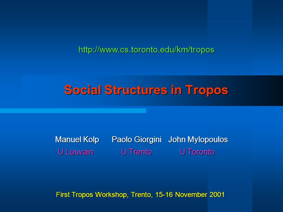 Social Structures in Tropos 22 Social Patterns Embassy Mediator Contract-Net