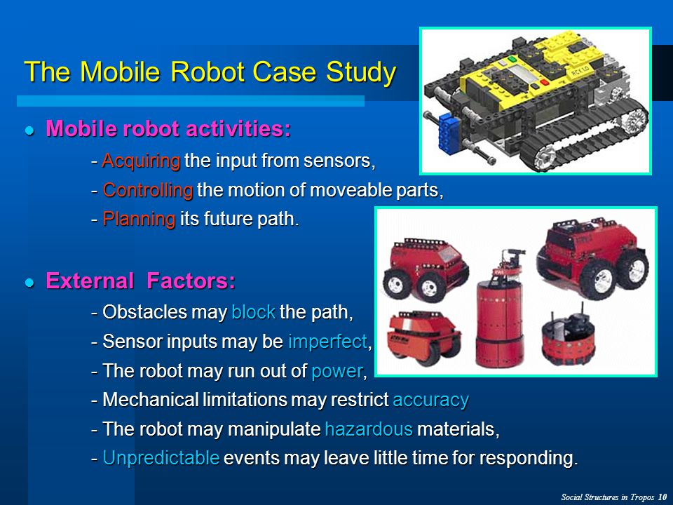 Social Structures in Tropos 10 The Mobile Robot Case Study Mobile robot activities: Mobile robot activities: - Acquiring the input from sensors, - Controlling the motion of moveable parts, - Planning its future path.