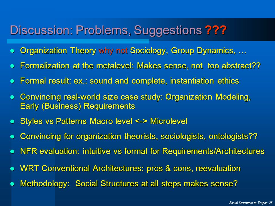 Social Structures in Tropos 25 Discussion: Problems, Suggestions ??.