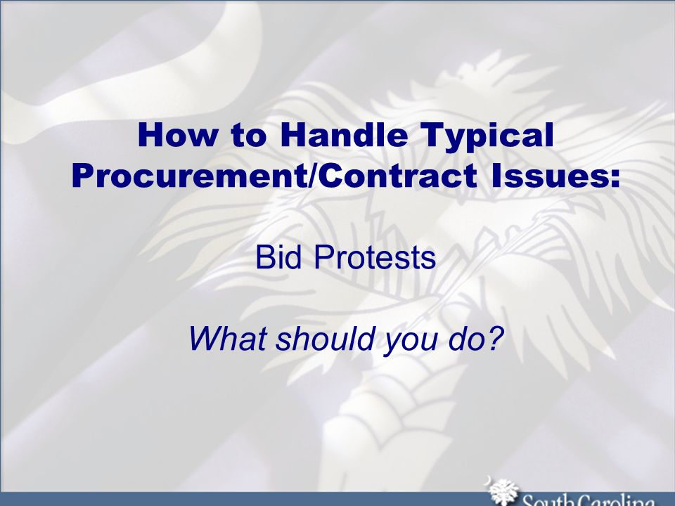 How to Handle Typical Procurement/Contract Issues: Bid Protests What should you do