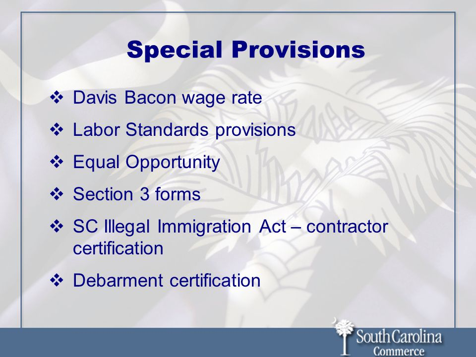 Special Provisions  Davis Bacon wage rate  Labor Standards provisions  Equal Opportunity  Section 3 forms  SC Illegal Immigration Act – contractor certification  Debarment certification