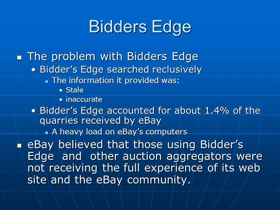 Bidders Edge The problem with Bidders Edge The problem with Bidders Edge Bidder's Edge searched reclusivelyBidder's Edge searched reclusively The info
