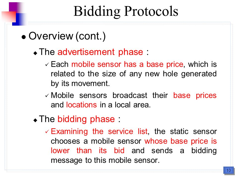 10 Bidding Protocols Overview (cont.)  The advertisement phase : Each mobile sensor has a base price, which is related to the size of any new hole generated by its movement.