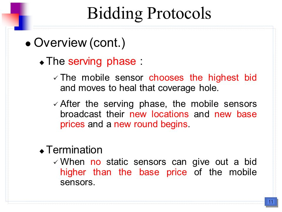 11 Bidding Protocols Overview (cont.)  The serving phase : The mobile sensor chooses the highest bid and moves to heal that coverage hole.