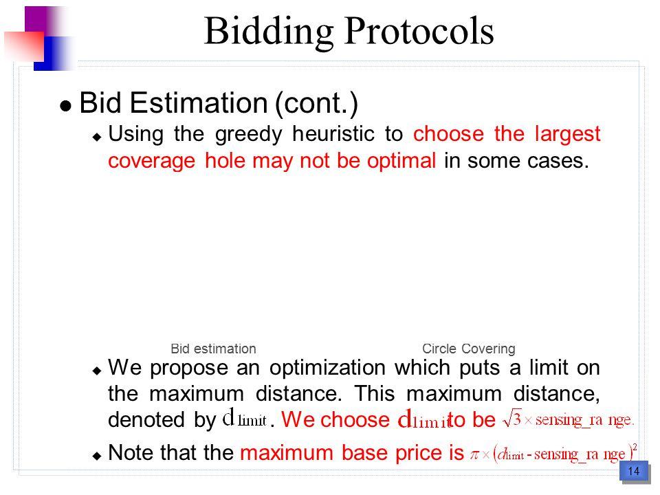 15 Bidding Protocols Criteria of Choosing Mobile Sensors to Bid  distance-based approach : A bidder chooses the closest mobile sensor to bid.