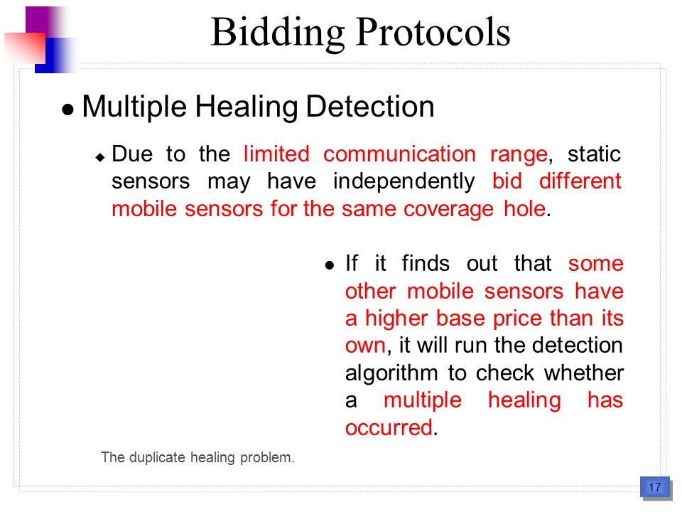 17 Bidding Protocols Multiple Healing Detection  Due to the limited communication range, static sensors may have independently bid different mobile s