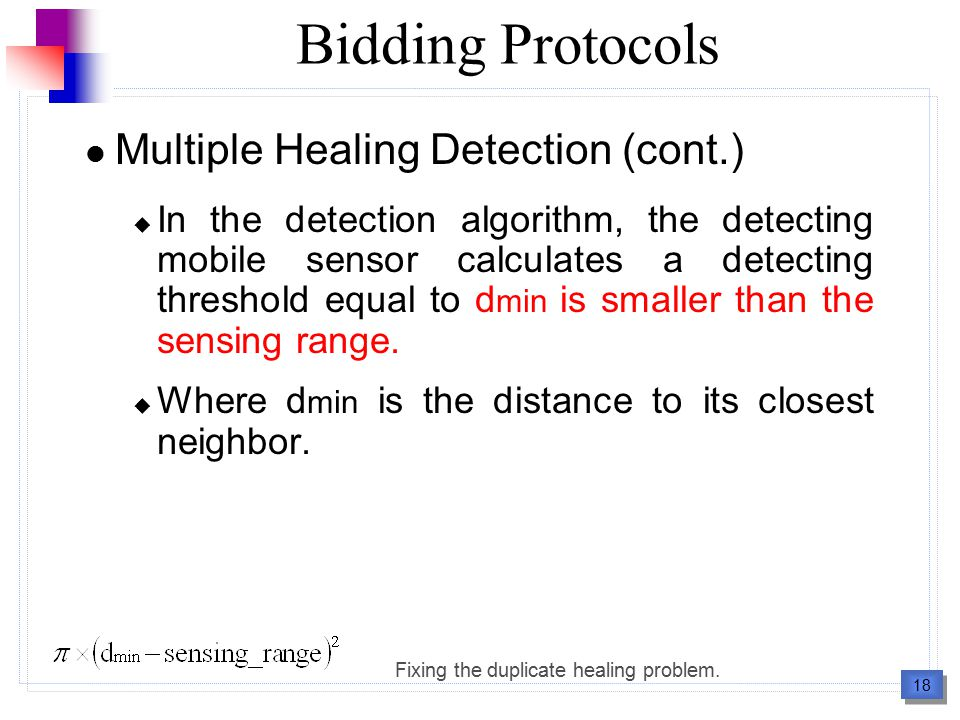 19 Outline Introduction Background Basic Bidding Protocol  Overview  Distributed Calculation of the Voronoi Cell  Bid Estimation  Criteria of Choosing Mobile Sensors to Bid  Multiple Healing Detection Proxy-Based Bidding Protocol  Proxy Sensor  Coverage Hole Exchange  Multiple Healing Detection  Protocol Specification Performance Evaluations Conclusion